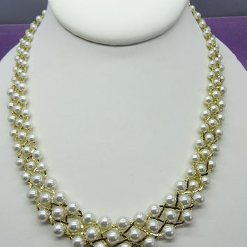 Vintage Faux Pearl Necklace, Multi Strand Gold Tone Necklace, 1990s Jewelry