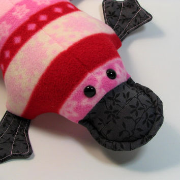 Pippa Platypus, pink, red, striped, fleece, Valentine's Day, quilted, webfoot
