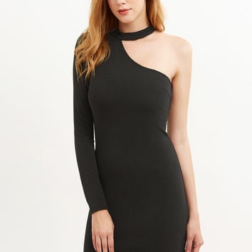 Black Halter One Shoulder Bodycon Dress | MakeMeChic.COM