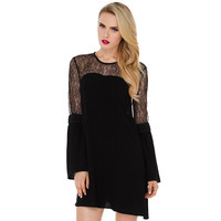Sexy Lace Patchwork Backless Round-neck Loudspeaker Chiffon One Piece Dress [7998616518]