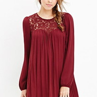 Lace-Paneled Shift Dress
