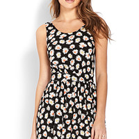 FOREVER 21 Driving Daisies Romper Black/Cream