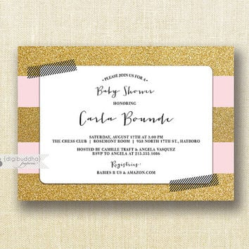 Blush Pink & Gold Glitter Baby Shower Invitation Girl Black and White Washi Tape Modern Baby Sprinkle Invite Printable or Printed- Carla