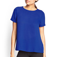 FOREVER 21 Boxy Pleated Top Clematis Blue