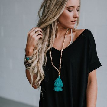 Still Into You Beaded Tassel Necklace - Teal