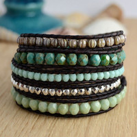 Beaded womens bracelet. Five wrap bracelet. Silver and green turquoise