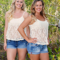 CREAM western Lace tank top