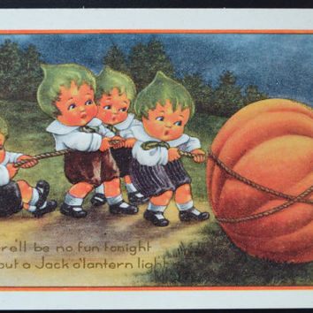 Halloween Postcard Whitney Made Pumpkin Children