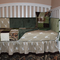 Patchwork Deer Head 5 Piece Crib Bedding Set