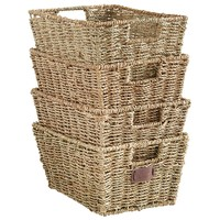 VonHaus Set of 4 Seagrass Storage Baskets with Insert Handles Ideal for Home and Bathroom Organization - 12(L) x 9(W) x 6(H) inches