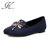 KSJYWQ Sweet Women's flats Dragonfly shoes Plus size 43 Autumn no heels Casual Shoes Comfortable Round-toe Box Packing F5-11
