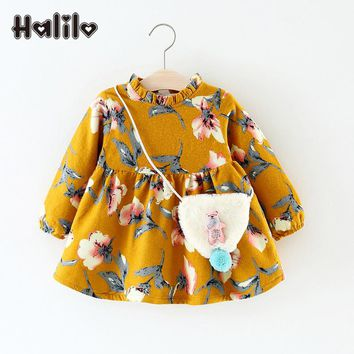 Halilo Infant Girl Dresses Floral Print First Birthday Girl Party Dress Winter Long Sleeve Baby Dresses Casual Princess Clothes