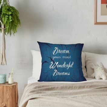 'Dream Your Most Wonderful Dreams - Quote - Navy Jackson Pollock Style' Throw Pillow by CorbinHenry