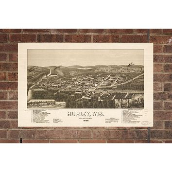 Vintage Hurley Print, Aerial Hurley Photo, Vintage Hurley WI Pic, Old Hurley Photo, Hurley Wisconsin Poster, 1886