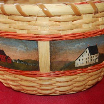 Handmade basket / hand painted basket / Farm house basket / large basket / home decor