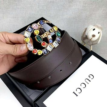 GUCCI Classic Popular Women Colorful Rhinestone GG Letter Buckle Belt Leather Belt Coffee