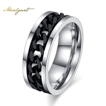 Steel Black Spinner Ring