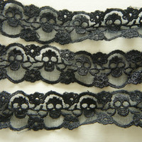 2 Yards Skull Lace Trim 30mm wide Black by misssapporo on Etsy