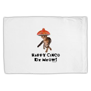 Cat with Pink Sombrero - Happy Cinco de Meow Standard Size Polyester Pillow Case by TooLoud