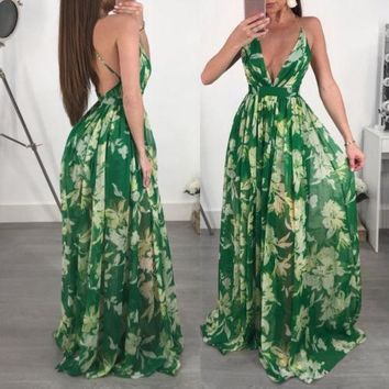 Womens Long Maxi Dress Prom Party Summer Beach Boho Holiday Dresses Women V-neck Backless Green Dresses Clothing
