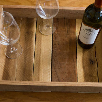 Reclaimed Wood Tray - Wood Serving Tray - Pallet Wood Tray - Rustic Wood Tray - Pallet Furniture - Kitchen Tray - Tray With Handles