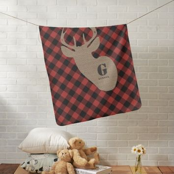 Burlap Deer Head Buffalo Plaid Baby Blanket