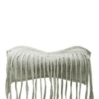 Cotton Fringe Bandeau Bra by Charlotte Russe - Heather Gray
