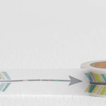 Single Arrow Washi Tape, Long Tribal Arrow with Feathered End, 15mm