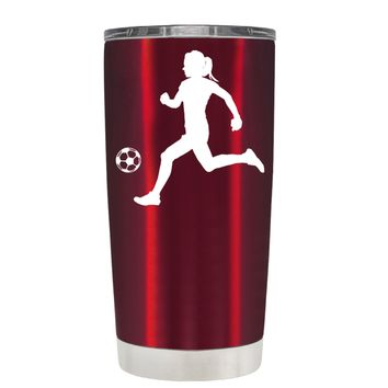 TREK Silhouette Soccer Player on Translucent Red 20 oz Tumbler Cup