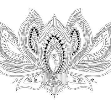 Lotus Flower Illustration / Print / Tattoo Printable (A3, A4, A5)