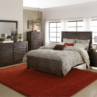 5 pc Farrin collection dark rustic pine finish wood bedroom set