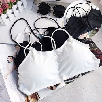 ac PEAPON Spaghetti Strap Bra Wrap With Steel Wire Hollow Out Underwear [45987397657]