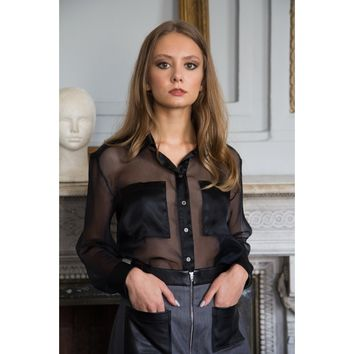 Black Collar Long Sleeve Blouse