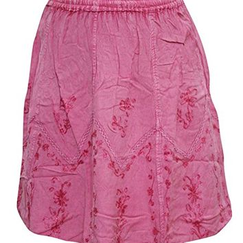 Womem's Short Skirt, Pink Stonewashed Rayon Boho Skirts S