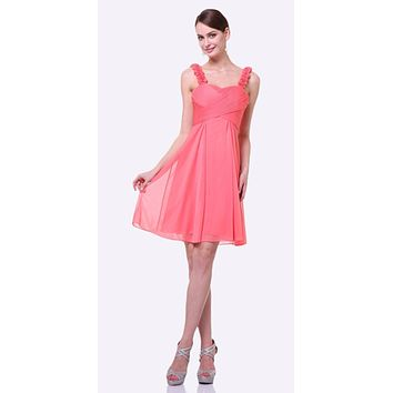 Knee Length Coral Bridesmaid Dress Empire Waist Wide Flower Straps