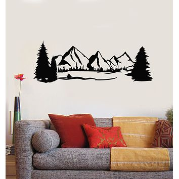 Vinyl Wall Decal Landscape Nature Scenery Terrain Snowy Mountain Trees Stickers Mural (g849)