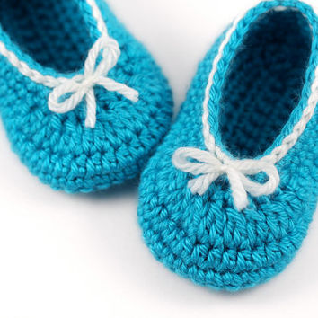 Crochet Ballet Slippers with Bows // Blue Mint and White // 6 to 9 Months // Aqua Ballet Slippers