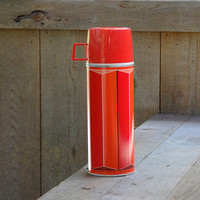 1974 Metal Thermos King Seeley Red & Orange Stripe Vintage Lunch #2210 Utilitarian