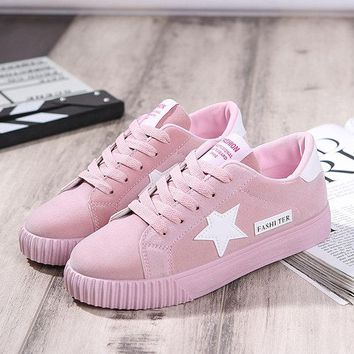 Star Lace Up Flat Casual Shoes For Women
