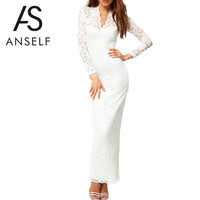 ANSELF Women Lace Maxi Dress Spring Autumn Sexy Long Sleeve Deep V Neck Slim Casual Dress Vestido de Festa Plus Size Black White