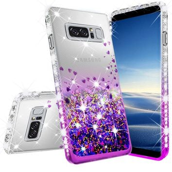Samsung Galaxy Note 8 Case Liquid Glitter Phone Case Waterfall Floating Quicksand Bling Sparkle Cute Protective Girls Women Cover for Galaxy Note 8 - Purple