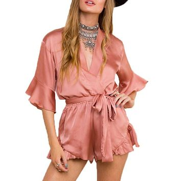 2016 Summer Style Satin Ruffles Elegant Jumpsuit Romper Deep V Neck Sexy Playsuit Women Pink Bow Short Beach Overalls