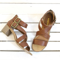 Havarti Strappy Heeled Sandals {Cognac}
