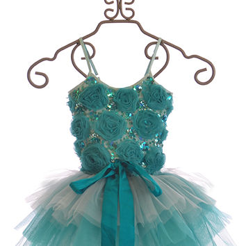 Tutu Du Monde Special Occasion Dress for Girls Blue Roses