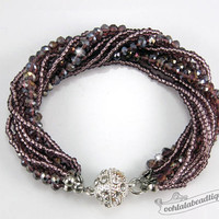 Burgundy Multi strand Crystal bracelet burgundy beaded jewelry multi strand bracelet wine crystal bracelet sparkly evening bracelet gift