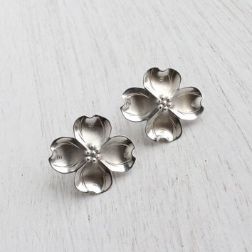 Vintage Sterling Silver Dogwood Earrings - Stuart Nye Screw Back Floral Jewelry / Mid Century Flowers