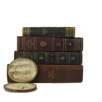 Antique Leather Book Stack, S/4