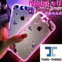 (Lighting Color can change) Bling Flower Butterfly Rhinestone LED Flash Light UP Remind Incoming Call Cases Cover For Smart Mobile Phones (Samsung Galaxy Note 5, Pink)