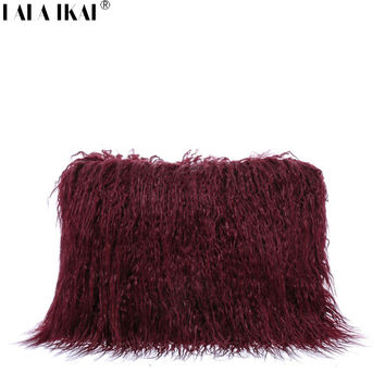 LALA IKAI Designer Women Fur Bags Famous Brand Women Clutches Ladies Evening Clutch Purse Wool Hand Bag Faux Fur Clutch BWF0105