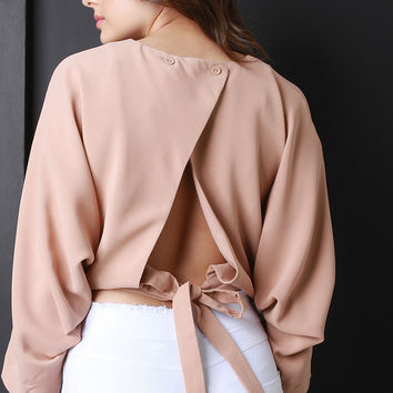 Back-Tie Long Sleeve Cropped Blouse Top